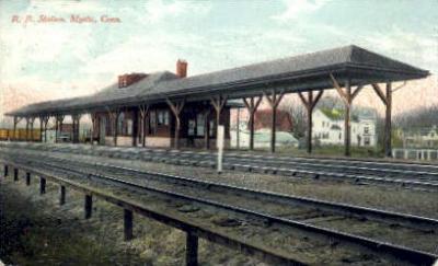 dep-CT042 - R.R. Station, Mystic, Connecticut CT, USA Railroad Train Depot Postcard Post Card