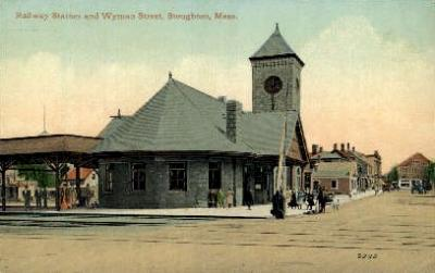 dep-MA004 - Railway Station, Stoughton, Massachusetts, MA, USA,  Railroad Train Depot Postcard Post Card