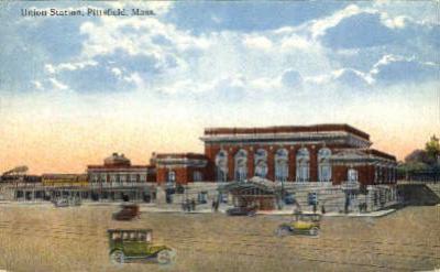 dep-MA018 - Union Station, Pittsfield, Massachusetts, MA, USA,  Railroad Train Depot Postcard Post Card