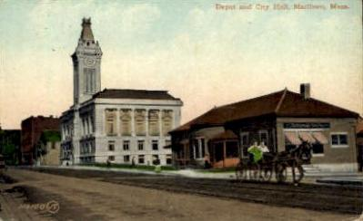 dep-MA026 - Depot and City Hall, Marlboro, Massachusetts, MA, USA,  Railroad Train Depot Postcard Post Card