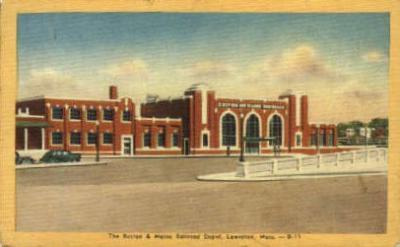 dep-MA029 - Boston and Maine Railroad Depot, Lawrence, Massachusetts, MA, USA,  Railroad Train Depot Postcard Post Card