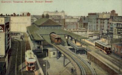 dep-MA040 - Elevated Terminal Station Dudley Street, Boston, Massachusetts, MA, USA,  Railroad Train Depot Postcard Post Card