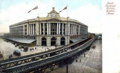 dep-MA049 - South Terminal Station, Boston, Massachusetts, MA, USA,  Railroad Train Depot Postcard Post Card