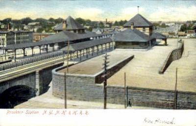 dep-MA052 - Brockton Station, Boston, Massachusetts, MA, USA,  Railroad Train Depot Postcard Post Card