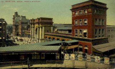 dep-MA055 - North Station, Boston, Massachusetts, MA, USA,  Railroad Train Depot Postcard Post Card