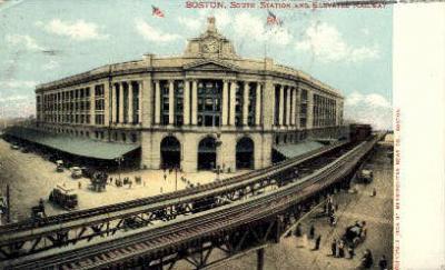 dep-MA057 - South Station, Boston, Massachusetts, MA, USA,  Railroad Train Depot Postcard Post Card