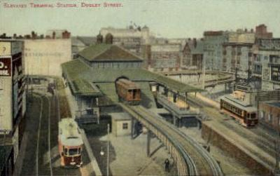 dep-MA058 - Elevated Terminal Station, Boston, Massachusetts, MA, USA,  Railroad Train Depot Postcard Post Card
