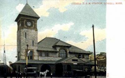 dep-MA064 - Lowell B.&M. Station, Lowell, Massachusetts, MA, USA,  Railroad Train Depot Postcard Post Card