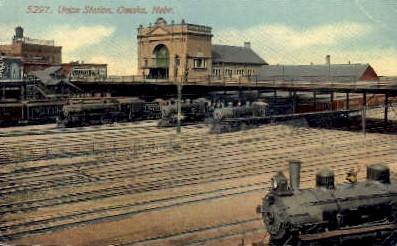 dep-NE015 - Union Statoin, Omaha, Nebraska, NE, USA Railroad Train Depot Postcard Post Card