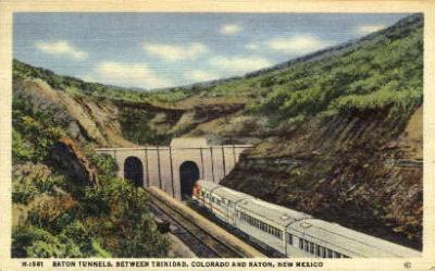 dep-NM002 - Raton Tunnels, Colorado and Raton, New Mexico, NM, USARailroad Train Depot Postcard Post Card
