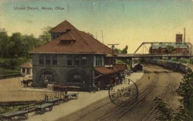 dep-OH007 - Union Depot, Akron, Ohio, OH, USA Railroad Train Depot Postcard Post Card