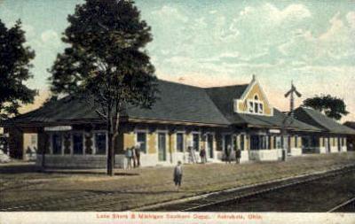 dep-OH016 - Lake Shore and Michigan Southern Depot, Ashtabula, Ohio, OH, USA Railroad Train Depot Postcard Post Card