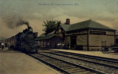 dep-OH017 - Pennsylvania Ry. Depot, Loudonville,Ohio, OH, USA Railroad Train Depot Postcard Post Card