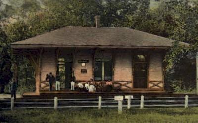 dep-RI003 - Conimicut, Rhode Island, RI, USA Railroad Train Depot Postcard Post Card