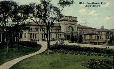 dep-RI008 - Union Station, Providence, Rhode Island, RI, USA Railroad Train Depot Postcard Post Card