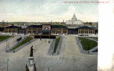 dep-RI011 - The New R.R. Station, Providence, Rhode Island, RI, USA Railroad Train Depot Postcard Post Card