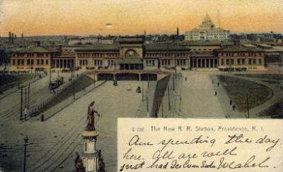 dep-RI012 - The New R.R. Station, Providence, Rhode Island, RI, USA Railroad Train Depot Postcard Post Card