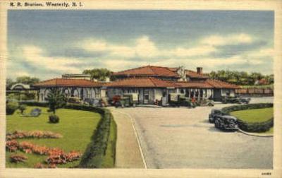 dep-RI013 - Railroad Station, Westerly, Rhode Island, RI, USA Railroad Train Depot Postcard Post Card