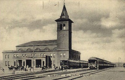 dep-TX001 - Union Depot, El Paso, Texas, TX, USA Railroad Train Depot Postcard Post Card