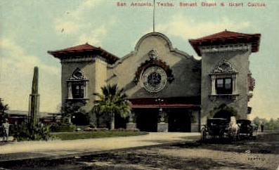 dep-TX003 - Sunset Depot, San Antonio, Texas, TX, USA Railroad Train Depot Postcard Post Card
