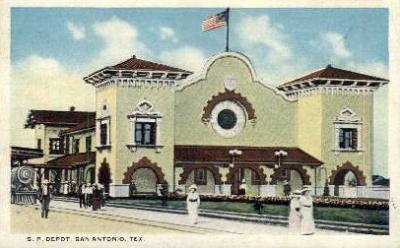 dep-TX027 - S.P. Depot, San Antonio, Texas, TX, USA Railroad Train Depot Postcard Post Card