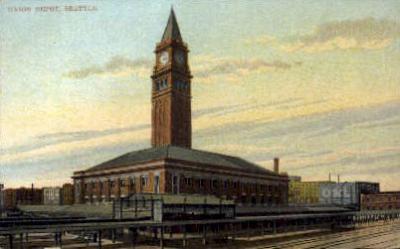 dep-WA004 - Union Depot, Seattle, Washington, WA, USA Railroad Train Depot Postcard Post Card