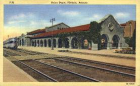 dep-AZ001 - Union Depot, Phoenix, AZ, Arizona, USA Railroad Train Depot Postcard Post Card