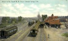 dep-CO012 - Denver and Rio Grande R.R. Depot, Colorado Springs, CO, Colorado, USA Railroad Train Depot Postcard Post Card