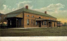 dep-CT001 - N.Y. N.H. and H. Railroad Station, Stamford, CT, Connecticut, USA Railroad Train Depot Postcard Post Card