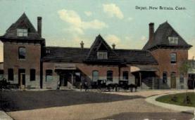 dep-CT007 - Depot, New Britain, Connecticut CT, USA Railroad Train Depot Postcard Post Card