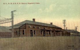dep-CT008 - N.Y. N.H. and H.R.R. Station, Stamford, Connecticut CT, USA Railroad Train Depot Postcard Post Card