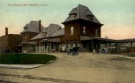 dep-CT009 - The Depot, New Britain, Connecticut CT, USA Railroad Train Depot Postcard Post Card