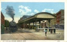 dep-CT011 - N.Y. H.H. and H. Station, Meriden, Connecticut CT, USA Railroad Train Depot Postcard Post Card
