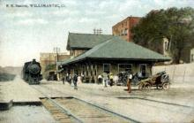 dep-CT013 - R.R. Station, Willimantic, Connecticut CT, USA Railroad Train Depot Postcard Post Card