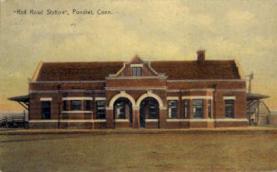 dep-CT019 - Railroad Station, Pomfret, Connecticut CT, USA Railroad Train Depot Postcard Post Card