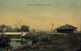 dep-CT020 - Station and Bridge, Plainville, Connecticut CT, USA Railroad Train Depot Postcard Post Card