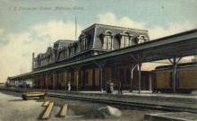 dep-CT027 - R.R. Passenger Depot, Meriden, Connecticut CT, USA Railroad Train Depot Postcard Post Card