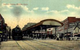 dep-CT028 - Railroad Station, Meriden, Connecticut CT, USA Railroad Train Depot Postcard Post Card
