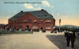 dep-CT029 - Union Station, New London, Connecticut CT, USA Railroad Train Depot Postcard Post Card