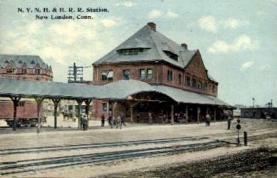 dep-CT030 - N.Y. N.H. and H.R.R. Station, New London, Connecticut CT, USA Railroad Train Depot Postcard Post Card