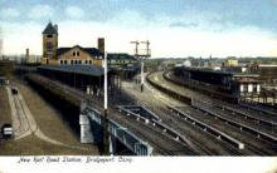 dep-CT032 - New Railroad Station, Bridgeport, Connecticut CT, USA Railroad Train Depot Postcard Post Card