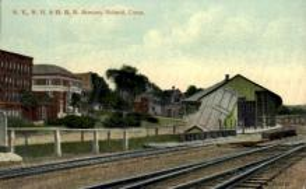 dep-CT039 - N.Y. N.H. and H.R.R. Station, Bristol, Connecticut CT, USA Railroad Train Depot Postcard Post Card