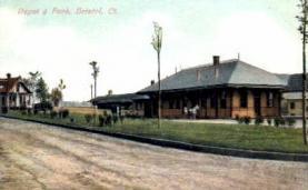 dep-CT040 - Depot and Park, Bristol, Connecticut CT, USA Railroad Train Depot Postcard Post Card