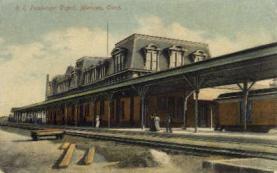 dep-CT045 - R.R. Passenger Depot, Meriden, Connecticut CT, USA Railroad Train Depot Postcard Post Card