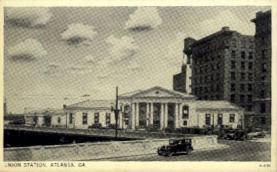 dep-GA006 - Union Station, Atlanta, Georgia, GA, USA, Railroad Train Depot Postcard Post Card