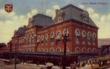 dep-IL003 - Union Depot, Chicago, Illinois, IL, USA, Railroad Train Depot Postcard Post Card