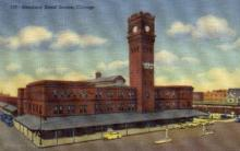 dep-IL013 - Dearbora Street Station, Chicago, Illinois, IL, USA, Railroad Train Depot Postcard Post Card