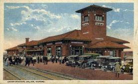 dep-KS006 - Union Station, Salina, Kansas, KS, USA, Railroad Train Depot Postcard Post Card