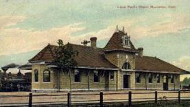 dep-KS009 - Union Pacific Depot, Manhattan, Kansas, KS, USA, Railroad Train Depot Postcard Post Card