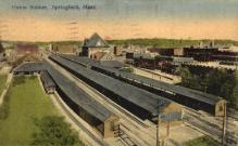 dep-MA009 - Union Station, Springfield, Massachusetts, MA, USA,  Railroad Train Depot Postcard Post Card